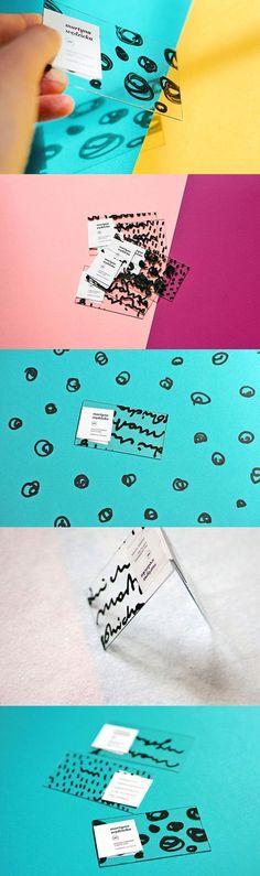 Visitenkarte / transparenter Karton / mit dickem schwarzen Marker Illustriert / by Martyna Wędzicka