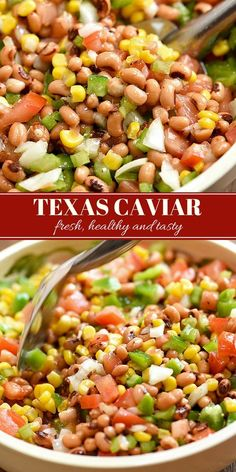 Texas Caviar Dip loaded with black-eyed peas, grilled corn, tomatoes, bell peppers, celery, and tangy dressing for an addicting dip or side dish. It's fresh, healthy, and tasty! #beansalad #texascaviar #appetizer #sidedish #beandip #healthy #meatlessmondays #vegan #glutenfree