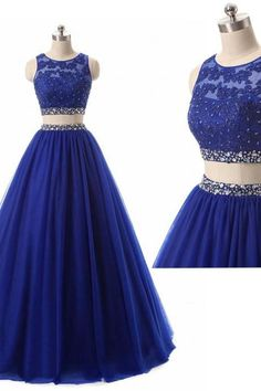 Women's Long 2 Pieces Lace Sequined Evening Party Gowns Beaded Appliques Formal Royal Blue Prom Dresses Quinceanera Dress PD291