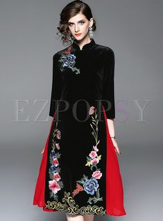 Shop Trendy Mandarin Collar Embroidered Improved Cheongsam Dress at EZPOPSY. Elegant Party Dresses, Nice Dresses, Casual Dresses, Fashion Dresses, Women's Dresses, Fashion Styles, Dresses Online, Cheongsam Dress, Hot Dress