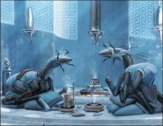 Two Birrin of the Southern Chey nations enjoying the comforts of a traditional smoking house after a hard day at work. The blue smoking jackets are not only traditional attire, they also protect the clothing underneath. Art by Alex Ries