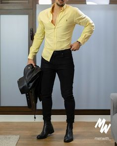 visit our website for the latest men's fashion trends products and tips . Black Shirt Outfit Men, Blazer Outfits Men, Leather Jacket Outfits, Men's Outfits, Retro Outfits, Mens Yellow Pants, Yellow Pants Outfit, Yellow Shirts, Tall Men Fashion