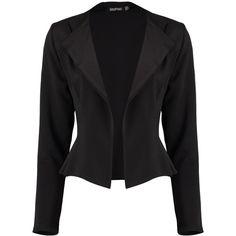Boohoo Alicia Scuba Lapel Blazer | Boohoo ($26) ❤ liked on Polyvore featuring outerwear, jackets, blazers, white blazer, pastel pink jacket, duster coat, pink blazer jacket and pink jacket