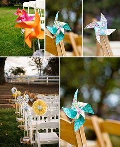 Decoración bodas con molinillos de papel