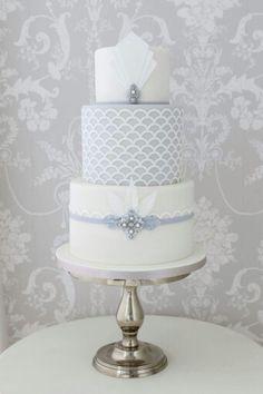 White & silver cake