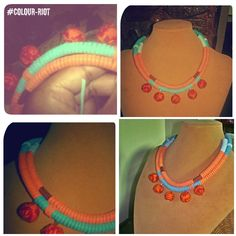 Made with suede covered leather cord and adorned with african cloth beads. You like?