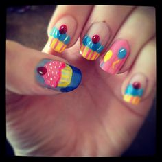 cupcake nail art - I know this is not a recipe, but it is soooo cute