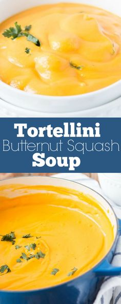 I am usually a chicken tortilla or potato soup girl but I've become obsessed with this creamy tortellini butternut squash soup! via @ohsweetbasil