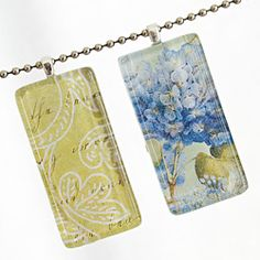 A tutorial on how to make glass tile pendant necklaces and magnet sets. Step-by-step photos and directions included.