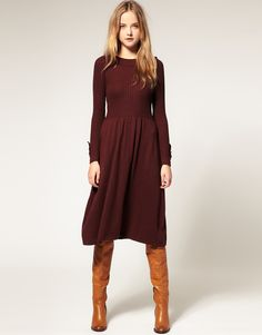 Easy outfit, love that the sweater dress isn't skin tight Fall Dresses, Fall Outfits, Ladies Dresses, Formal Dresses, Knit Dress, Dress Up, Dress Boots, Sweater Dresses, Dress Prom