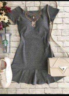 85f767745 grey peplum hem dress accessorized + paired w  sneakers