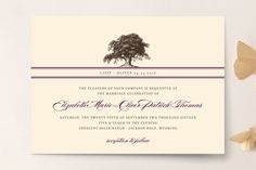 """Oak Tree"" - Floral & Botanical, Vintage Wedding Invitations in Butterscotch by annie clark."