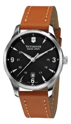 Victorinox Swiss Army Men's 241475 Alliance Black Dial Brown Strap