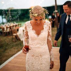 Vestidos de Novia Boho de la boda del estilo del estilo de la sirena del cordón de los vestidos de boda 2017 de la vendimia del V-cuello