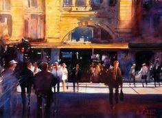 Alvaro Castagnet w/c Flinders Station, Melbourne, Australia Watercolor Architecture, Watercolor Landscape, Watercolor Artists, Watercolour Paintings, Urban Sketchers, Montevideo, Best Artist, Art Pictures, Art Pics