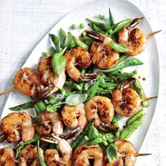 Grilled Shrimp Skewers with Charred Asparagus and Snap Peas   MyRecipes.com