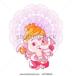 Little cute Ganesha. Cartoon character. Vector cartoon illustration on a white…