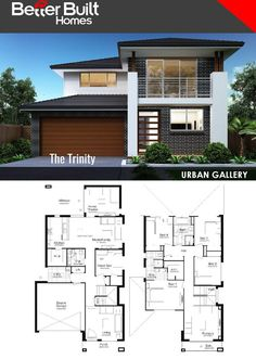The Trinity: Double Storey House Design  291.61 Sq.m – 10.35m x 19.34m   With generous proportions throughout, multiple family living zones and an abundance of bathrooms, you have every reason to love the Trinity.  The perfect layout and a spacious dedicated sleepzone upstairs as well as a guest room on the ground floor, the Trinity is built to impress and designed to please.  #BetterBuilt #floorplans