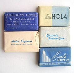 Vintage Miniature Hotel Bar Soaps In Blue. via Etsy.