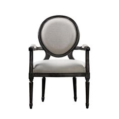 French Vintage Louis Antique Black Arm Chair