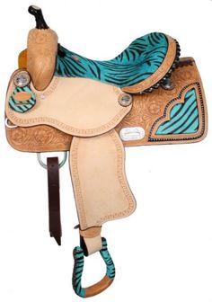 Bling Horse - Double T Barrel Saddle With Lime Green Zebra Print Seat Barrel Saddle, Barrel Racing Horses, Horse Gear, My Horse, Horse Riding, Blue Horse, Western Horse Tack, Western Saddles, Green Zebra