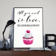 All you need is Love and a Cupcake Watercolour Cupcake Love Quote Sweets Treats Kitchen Wall Art Pri Kitchen Wall Art, Card Envelopes, Etsy Uk, Print Packaging, All You Need Is Love, Wall Art Prints, Love Quotes, Colours, Messages