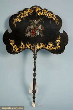 Victorian Fan Made Of Lacquered Shaped Top With Gilt Painting and Inlaid Abalone With Ebony Stick  -  Augusta Auctions