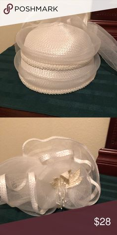 54e7e48a Church lady hat White hat to be worn on a communion Sunday. Worn 2 times