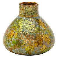"Zsolnay Pecs, vase, #5311, Hungary, Eosin glazed and decorated ceramic, signed, numbered, 4""dia x 3.5""h"