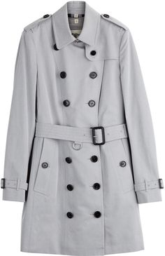 $2,595, Grey Trenchcoat: London Sandringham Cotton Trench Coat by Burberry. Sold by STYLEBOP.com. Click for more info: http://lookastic.com/women/shop_items/164112/redirect