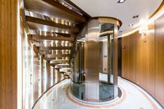 M/Y Maybe's spiral staircase - Image copyright Marcelo Penna Interior Design Guide, Spiral Staircase, French Door Refrigerator, Bathtub, Kitchen Appliances, Design Inspiration, The Incredibles, Yachts, Home
