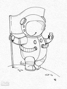 space sticker by #dushky for #umanshop | #space #astronaut #moonlanding #stars #universe #illustration #sticker