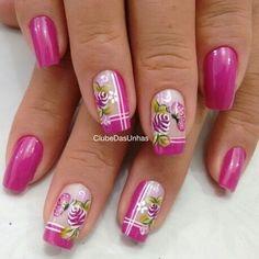 109 Unhas Decoradas com Borboletas! Pink Nail Art, New Nail Art, Pink Nails, Butterfly Nail Designs, Gel Nail Designs, Gorgeous Nails, Pretty Nails, Cowboy Nails, Finger Nail Art