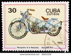 Old Cuba Stamps | CUBA - CIRCA 1985: A stamp printed by CUBA shows old motorcycle ...