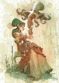 """One of Brian Kesinger's tea girls!! made with TEA!! """"Afternoon shade"""" by *BrianKesinger on deviantART"""