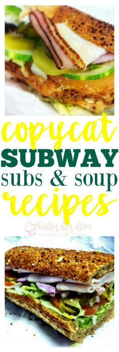 Copycat Subway Sandwich and Soup Recipes Love Subway? Make these Copycat Subway Sandwich Subs and Soup Recipes, and save money by eating at home! I've been making my own version of their oven roasted chicken breast for years, but it& much juicier! Subway Chicken, Roasted Chicken Breast, Subway Copycat Recipe, Copycat Recipes, Soup Recipes, Cooking Recipes, Chicken Recipes, Gourmet, Recipes