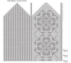 Diagram fot over og underside - SOKKER - roseemønster