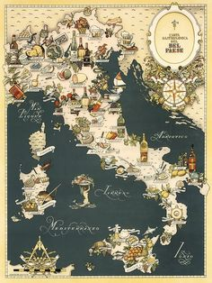 Gastronomic Map of Italy 1949 by mollyfare