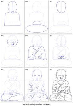 Outline Drawings, Pencil Art Drawings, Cool Art Drawings, Art Drawings Sketches, Easy Drawings, Buddha Drawing, Buddha Painting, Buddha Art, Drawing Tutorials For Beginners