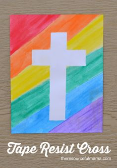 This tape resist Easter cross is a great art project for all kids.
