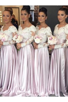 Beautiful A-Line Long Sleeves Pink Bridesmaid Dress with Lace OK652