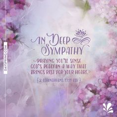 New Ecards to Share God's Love. DaySpring offers free Ecards featuring meaningful messages and inspiring Scriptures! Sympathy Wishes, Condolence Flowers, Sympathy Card Messages, Words Of Sympathy, Condolences Quotes, Sympathy Quotes, Deepest Sympathy, Words Of Comfort, Corinthians 13