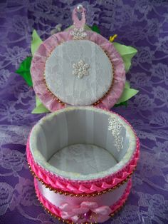 Handmade Jewelry Box with flower by KanzashiAccessories on Etsy