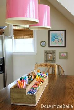Cutest Farmhouse Ever @ DaisyMaeBelle: Love the rustic art holder contrasted with the candy coloured art supplies :) art supply storage wood with mason jars Art Supplies Storage, Art Storage, Storage Ideas, Craft Supplies, Kids Craft Storage, School Supplies, Crayon Storage, Office Supplies, Art Supplies For Kids