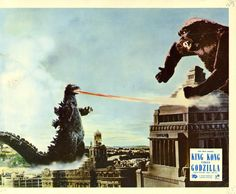 Colour still (paste-up with '33 Kong and '54 Godzilla) from KING KONG VS GODZILLA (1962)