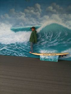 We can make a surf board bench and do a wave mural like this for one of the photo booths!