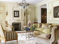 French villa style living room by Wilson Kelsey Design