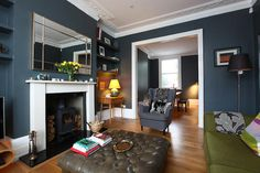 Add rate of interest to your living room with a fresh paint shade. Search our living-room color ideas gallery to locate living space ideas & paint shades. New Living Room, Home And Living, Living Room Decor, Living Area, Blue Living Room Walls, Log Burner Living Room, Dining Room, Victorian Living Room, Modern Victorian Bedroom