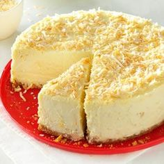 Coconut-White Chocolate Cheesecake---very creamy and delicious, will serve it with a berry sauce next time just for fun