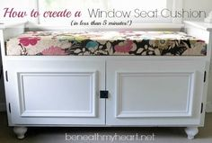DIY window seat cushion in LESS THAN 5 MINUTES! beneathmyheart.net